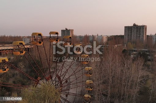 istock Deserted amusement park in city Pripyat 1155404999