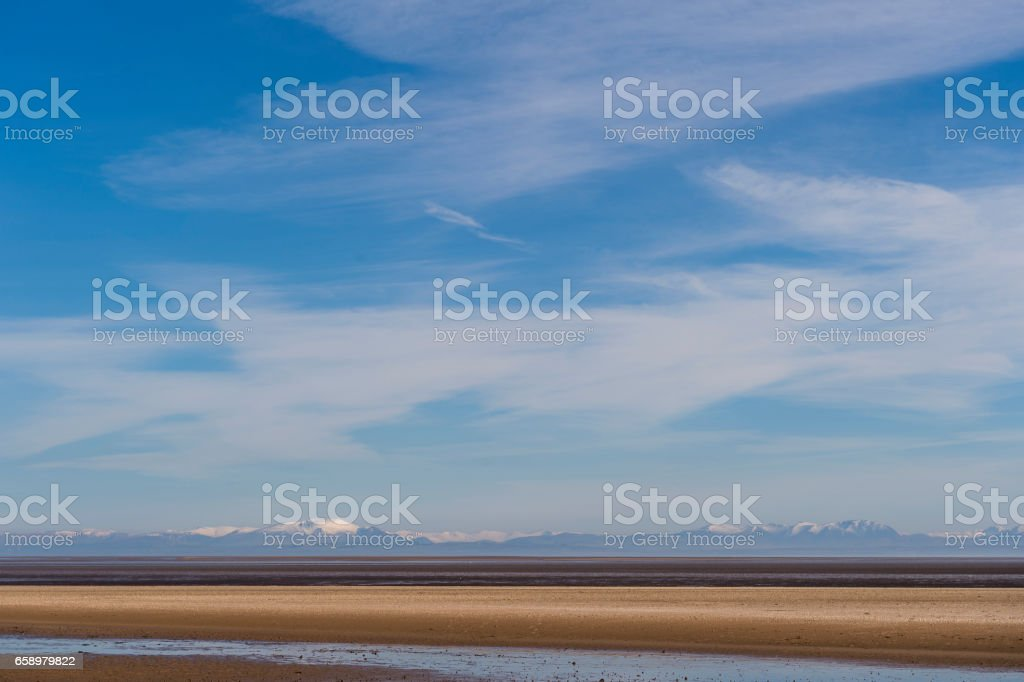 Deserted beach in Scotland on a sunny day stock photo