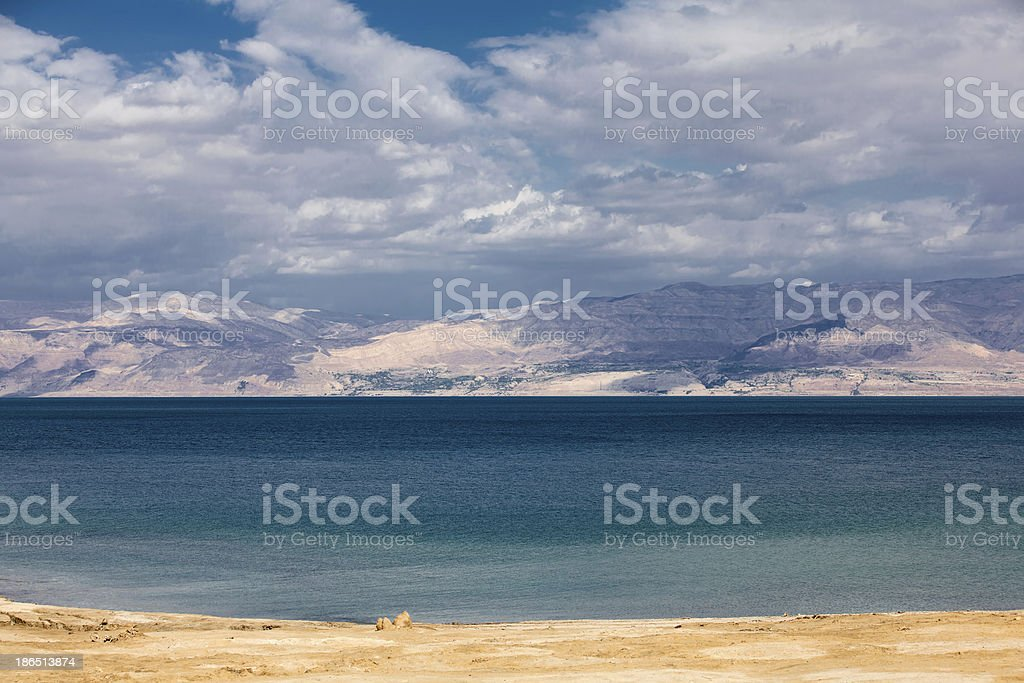 Deserted beach in the Dead sea royalty-free stock photo