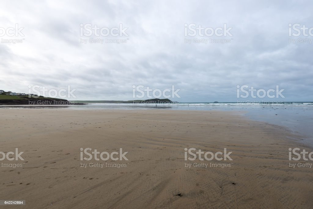 Deserted beach in winter stock photo