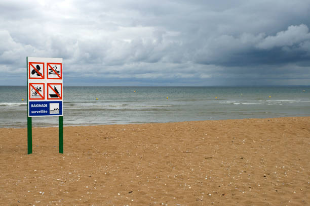 Deserted beach with lifeguard stock photo