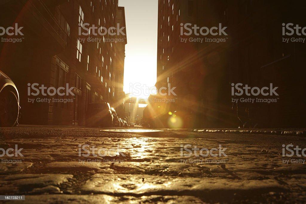 Deserted Brooklyn Backstreet Sunset Cobblestone View Golden Lens Flare stock photo