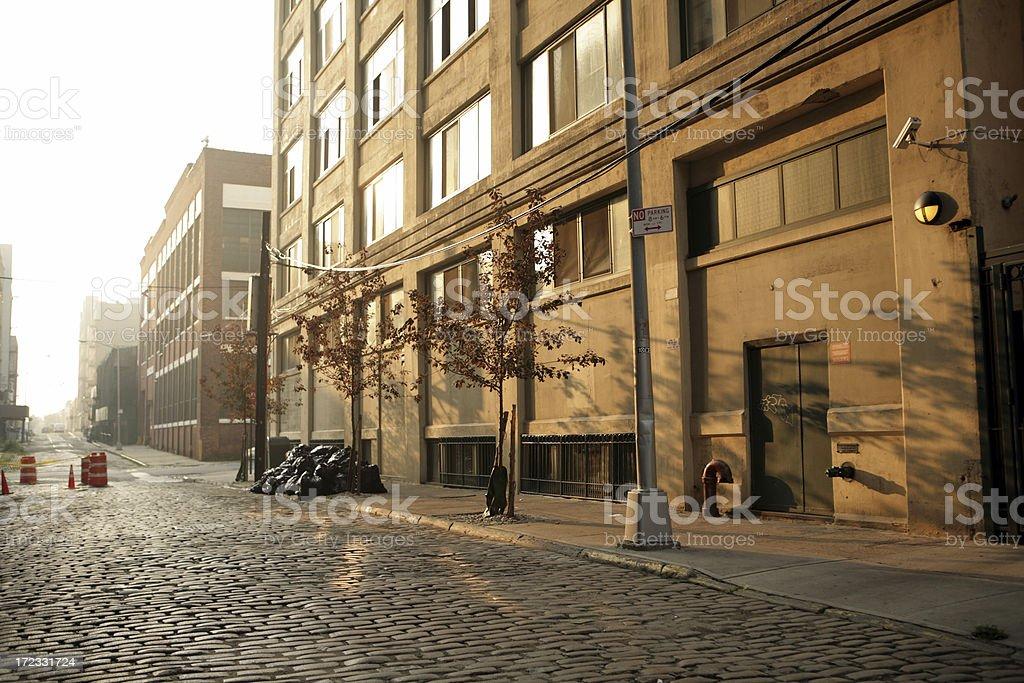 Deserted Brooklyn Cobblestone Backstreet at Sunrise Lens Flare stock photo