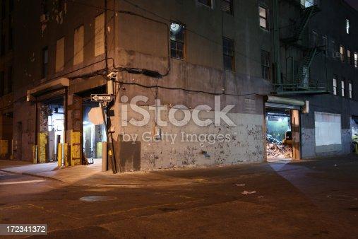 Brooklyn backstreet near the waterfront at night