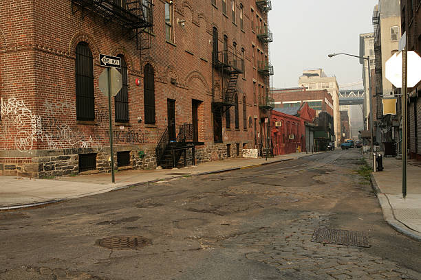 Deserted Brooklyn DUMBO Backstreet Brick Buildings More Brooklyn Backstreets in Color alley stock pictures, royalty-free photos & images