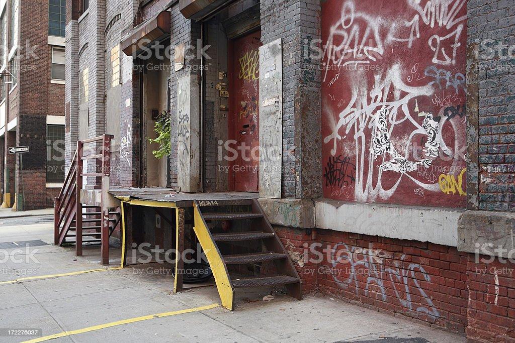 Deserted Brooklyn DUMBO Backstreet Industrial Buildings royalty-free stock photo