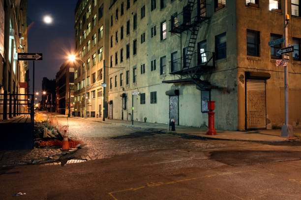 Einsames Brooklyn DUMBO Kopfsteinpflaster der Backstreet bei Nacht Full Moon – Foto