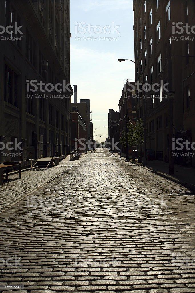 Deserted Brooklyn DUMBO Cobblestone Backstreet Morning royalty-free stock photo