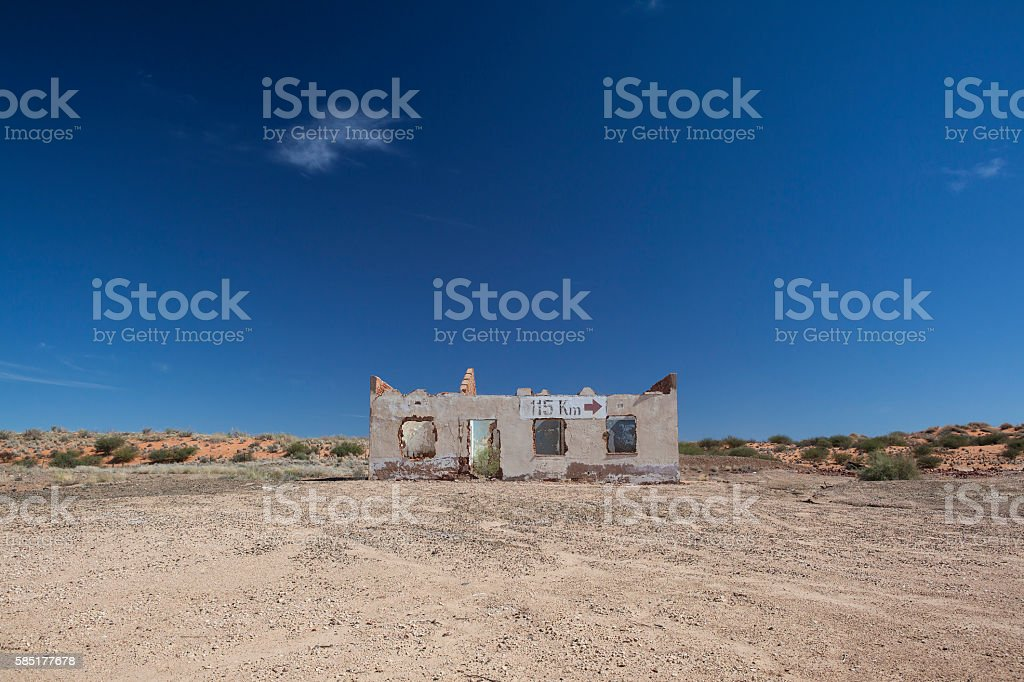 Deserted building in the Kalahari stock photo