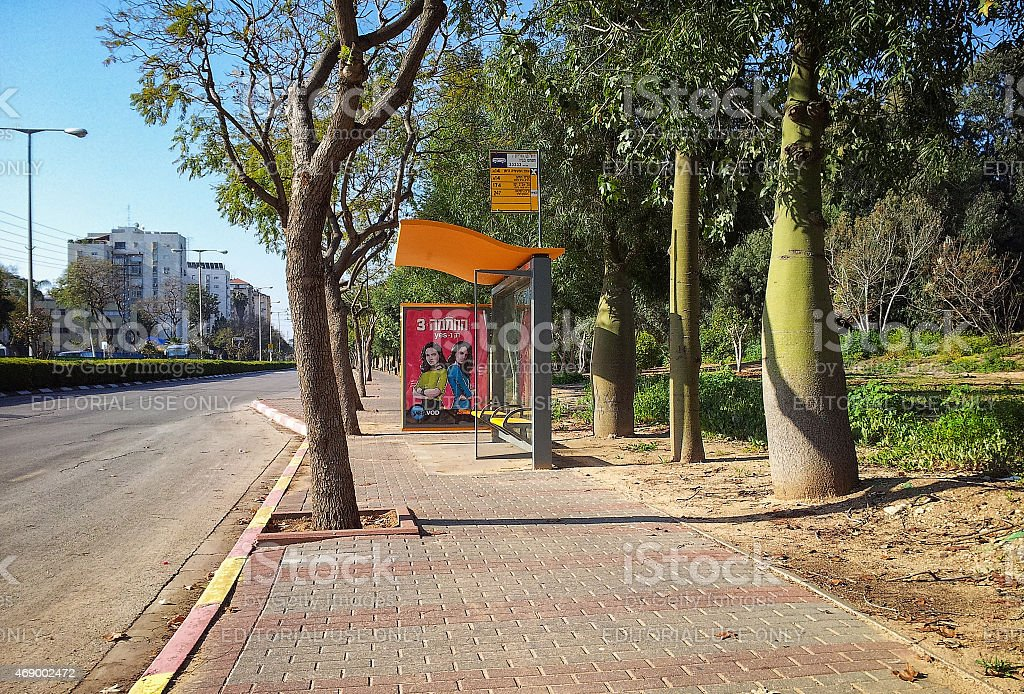 Deserted bus stop at weekend stock photo