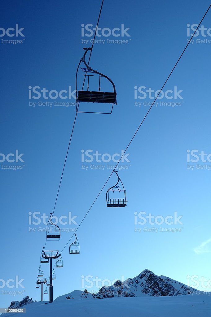 Deserted chair lift royalty-free stock photo