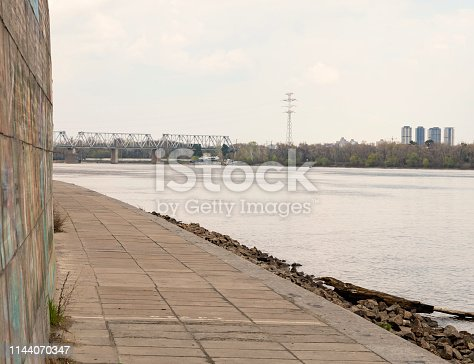 istock Deserted city embankment of the river 1144070347