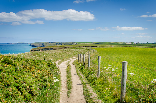 Deserted Clifftop Path and Blue Sky