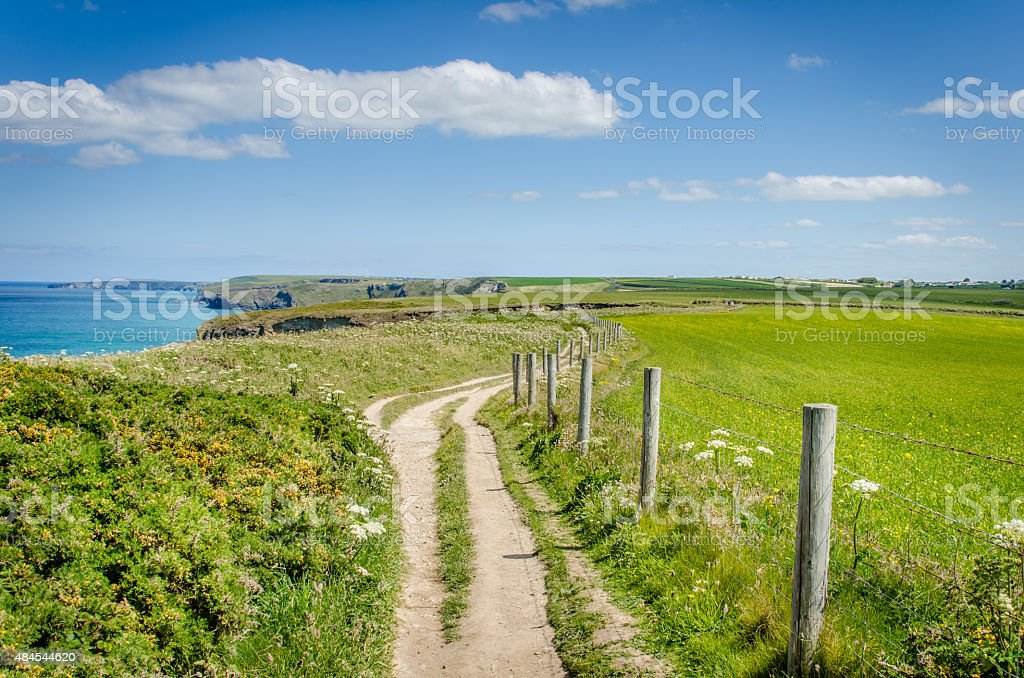 Deserted Clifftop Path and Blue Sky stock photo