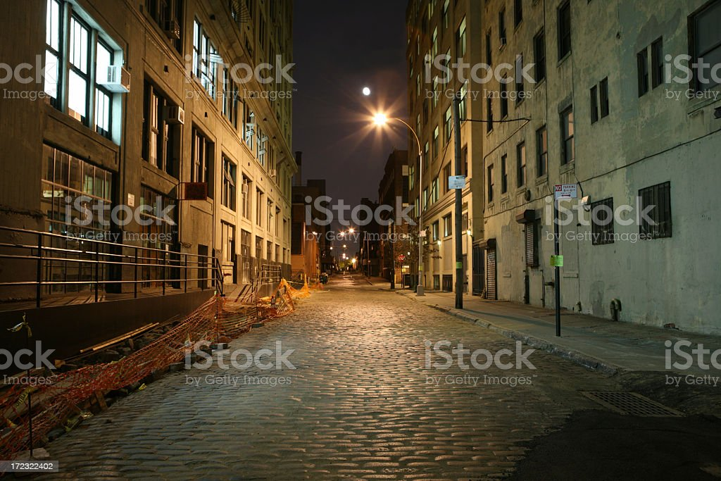 Deserted cobblestone backstreet in Brooklyn at night stock photo