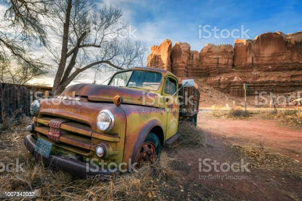 Deserted Dodge pickup vehicle parked near Twin Rocks in Utah