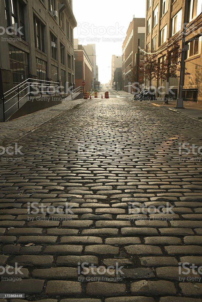 Deserted DUMBO Brooklyn Cobblestone Backstreet at Dawn royalty-free stock photo