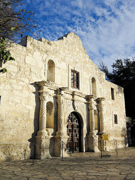 Deserted front entrance to the Alamo on sunny day stock photo