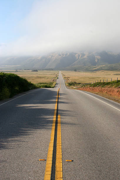 Deserted Highway 1 from Los Angeles to San Francisco stock photo
