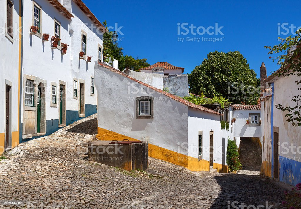 Deserted Historical Streets in Obidos royalty-free stock photo