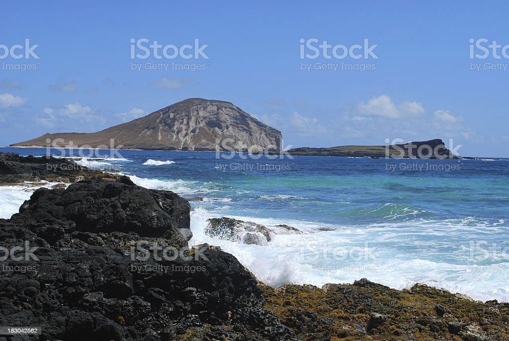 Deserted Islands off Makapuu Beach, Oahu, Hawaii. stock photo