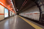 ROME, ITALY - 12 March 2020:  The metro galleries of Flaminio stop look eerie without the usual commuters. Today, the Italian government decreed a nationwide lockdown, with travel and movement bans, closing of shops, bar and restaurants, and emergency health measures following the CoVid-19 epidemic.