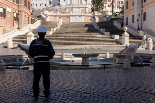 Deserted landmarks and streets following the lockdown in Rome, Italy stock photo