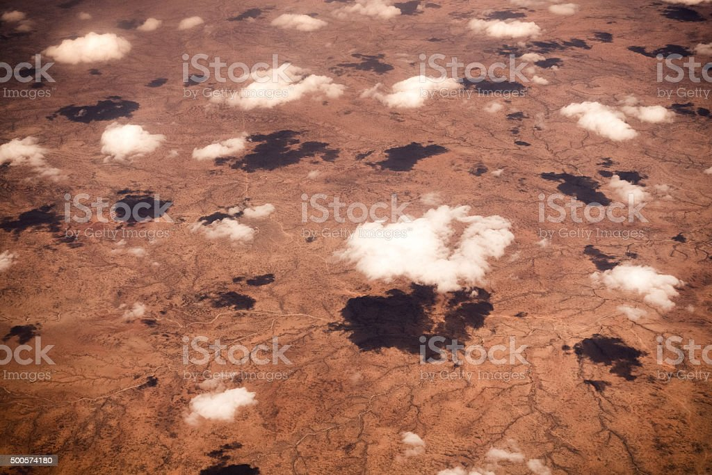 Deserted Landscape With White Clouds stock photo