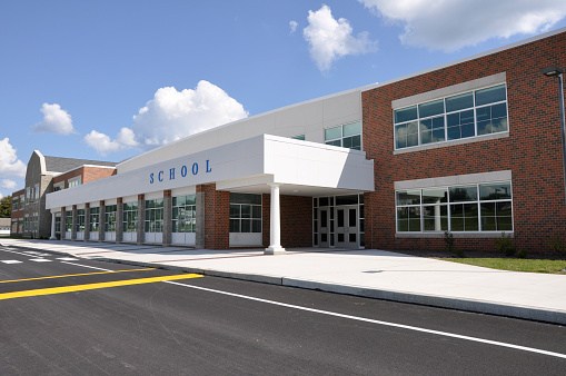 exterior of a modern school building entrance