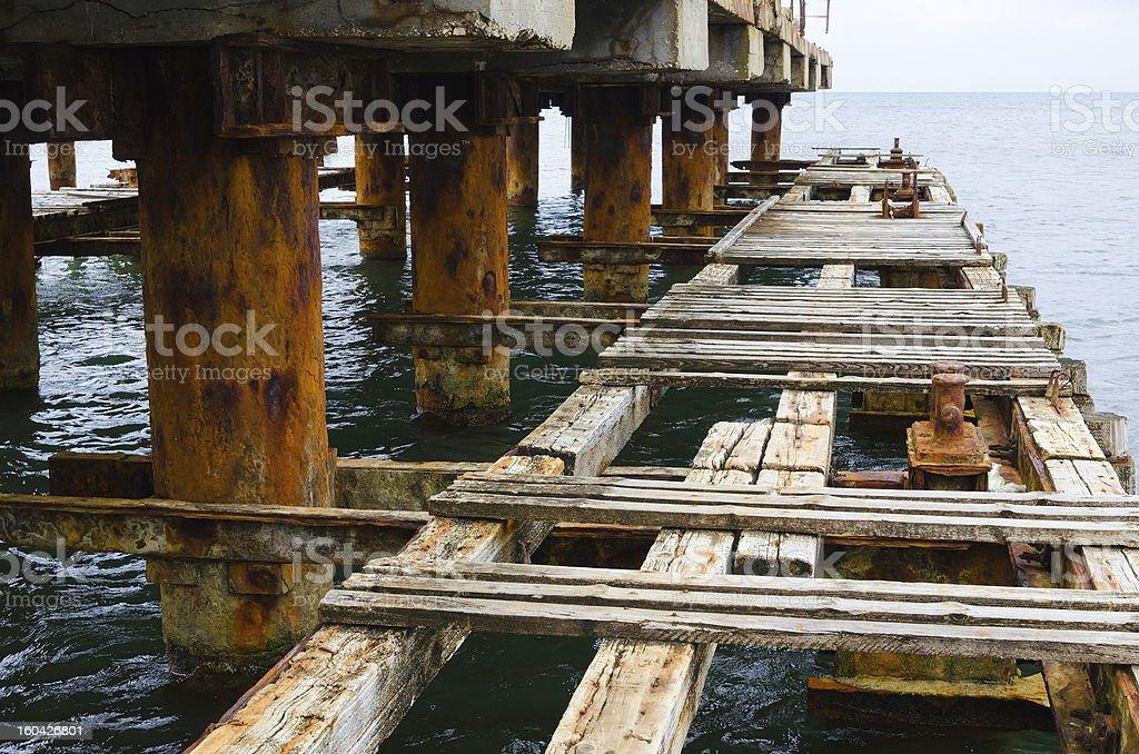 deserted old bridge floor. rusty and unusable. royalty-free stock photo