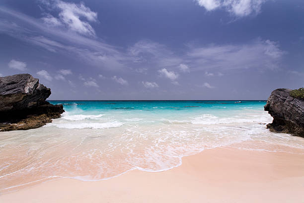 Deserted Pink Sand Beach in Bermuda stock photo