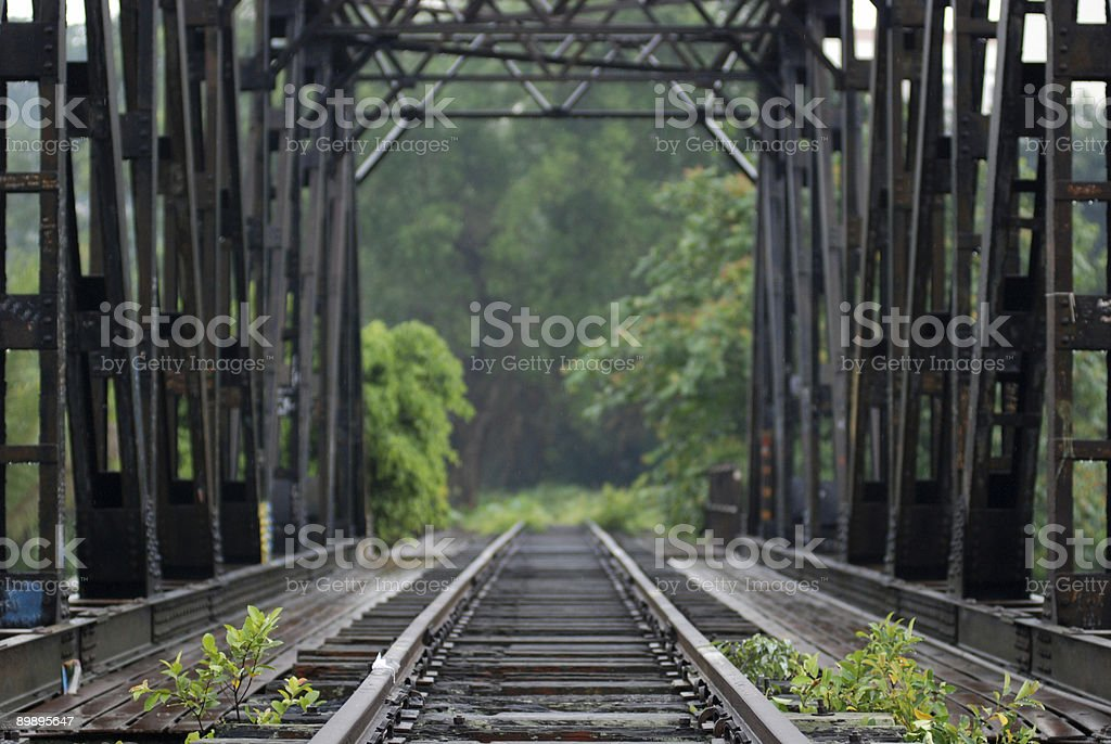 deserted Railway Bridge in the towns royalty-free stock photo