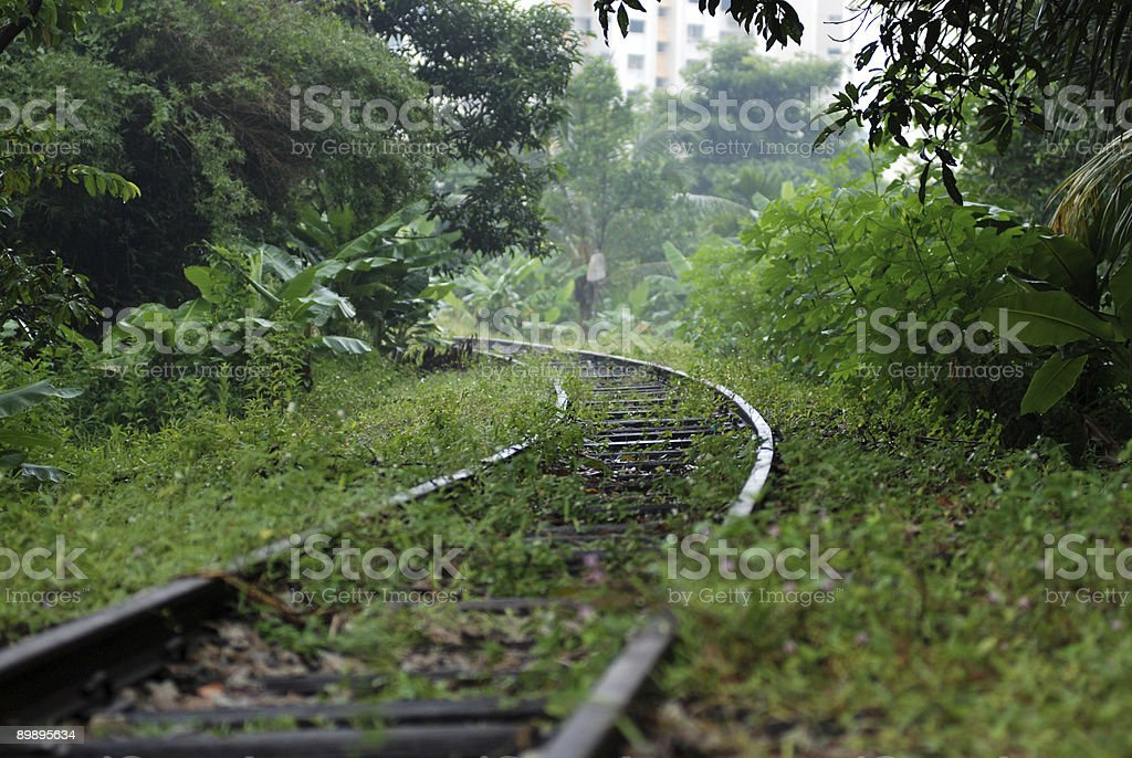 Deserted railway tracks in the towns royalty-free stock photo