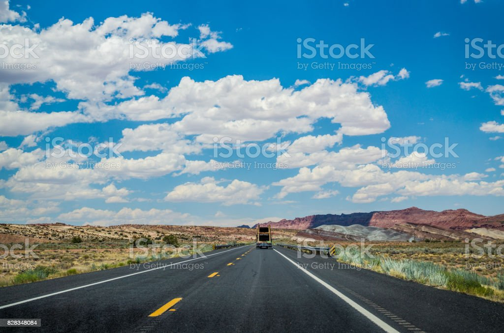 Deserted road in Arizona. The territory of the Navajo reservation stock photo