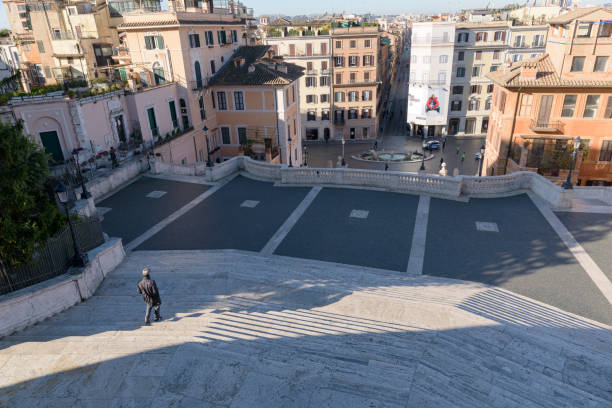 Deserted Spanish Steps in Rome, Italy stock photo