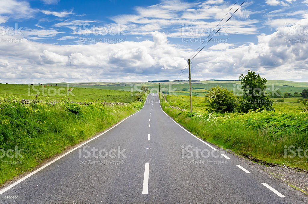 Deserted Straight Road in a Rural Landscape stock photo