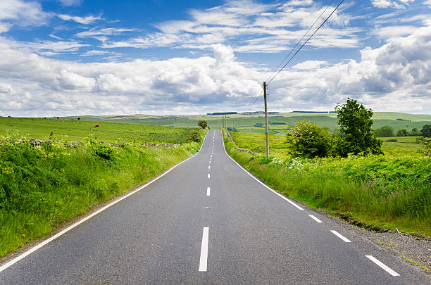 deserted straight road in a rural landscape - straight stock photos and pictures