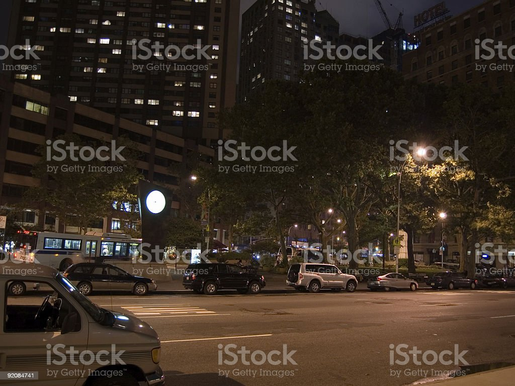 Deserted street at night in New York City stock photo
