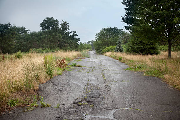 Deserted Street in Condemned Town stock photo