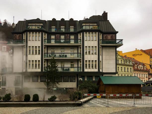 A deserted street in Karlovy Vary stock photo