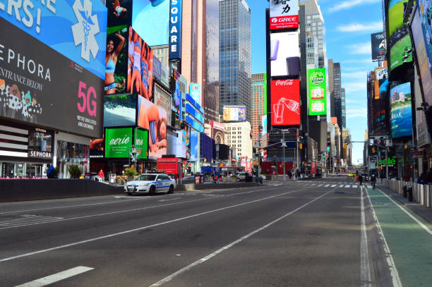 Deserted streets in Times Square stock photo