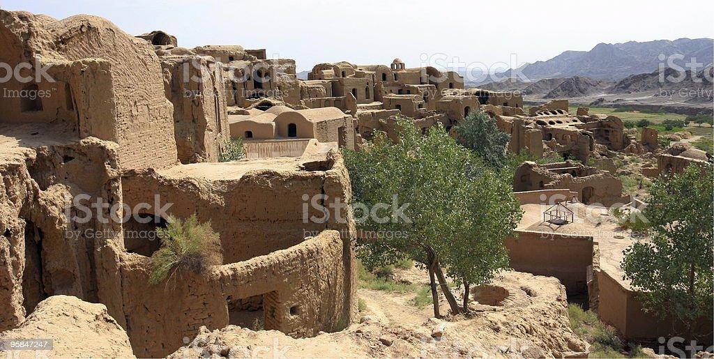 Deserted Village of Kharanaq. Iran royalty-free stock photo
