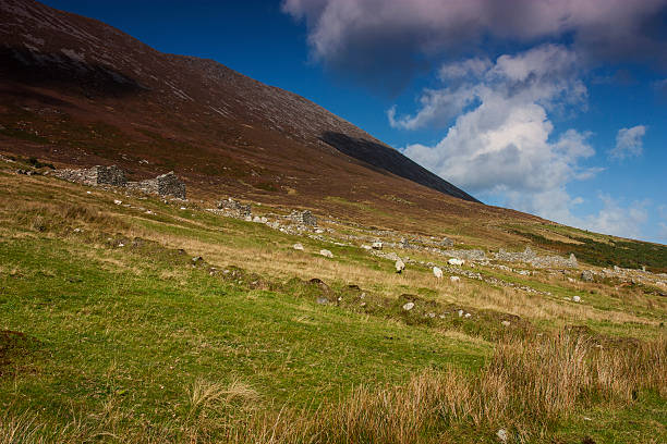 Deserted Village Slievemore Achill Island Mayo Ireland stock photo