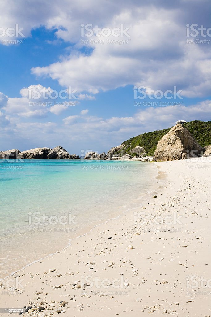Deserted White Sand Coral Beach On Japanese Tropical Island Stock