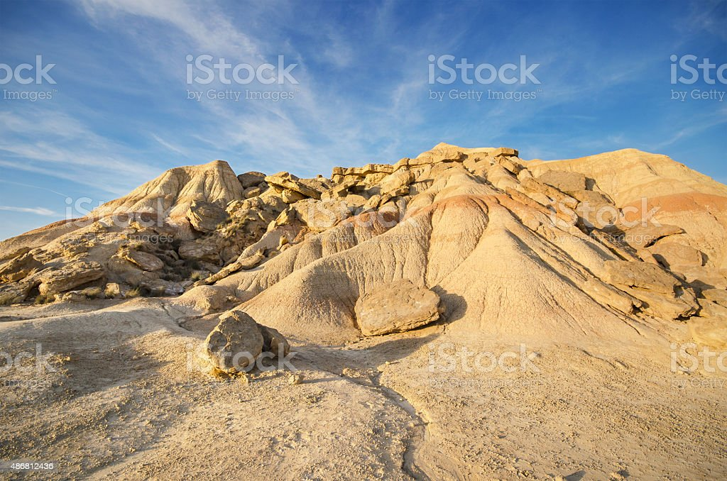 Desertic landscape at sunset in Bardenas Reales, Spain. stock photo