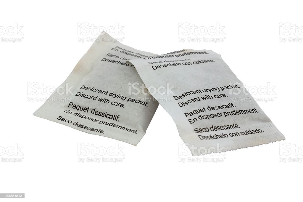 Desiccant drying paper packets stock photo