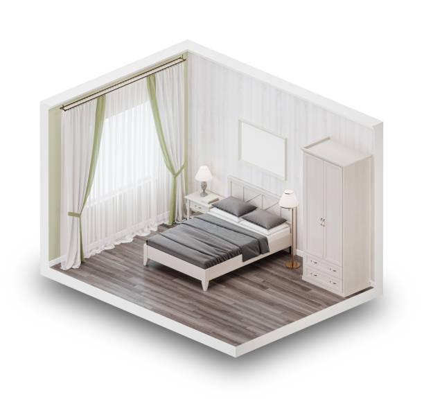 Entwerfen Sie ein Schlafzimmer im Stil der Provence. Isometrischen Ansicht. 3D-Rendering. – Foto