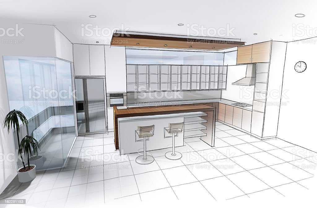 design a kitchen stock photo