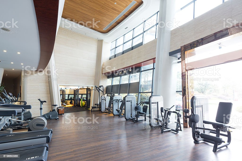 design and equipment in modern gym stock photo