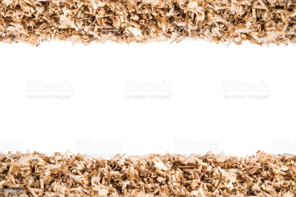 Design background from wood shavings, empty center with for place text stock photo